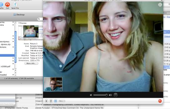 Katherine and Greg Skype